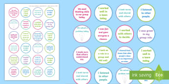 NI Thinking Skills and Personal Capabilities Working With Others Stickers - comments, targets, curriculum, marking, statements, Northern Ireland