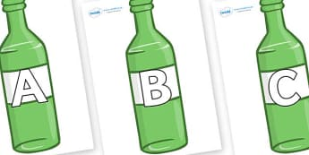 A-Z Alphabet on Green Bottles - A-Z, A4, display, Alphabet frieze, Display letters, Letter posters, A-Z letters, Alphabet flashcards