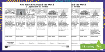 New Years Eve Around the World Differentiated Activity Sheet English/Italian - Celebrations, annual, seasons, calendar, birthday, new years eve, EAL,Australia