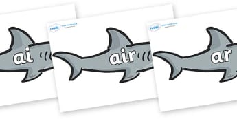 Phase 3 Phonemes on Sharks - Phonemes, phoneme, Phase 3, Phase three, Foundation, Literacy, Letters and Sounds, DfES, display