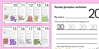 Number Formation Worksheets (10-20) - Handwriting, overwriting, number formation, number writing practice, foundation, numbers, foundation stage numeracy, writing, learning to write