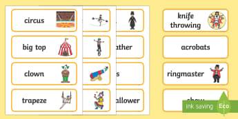 Circus Word Cards - circus, clown, juggler, word card, flashcards, cards, acrobats, big top, magician, monkey, ring master, trapeze, horse, elephant, lion tamer, stilts, sea lion