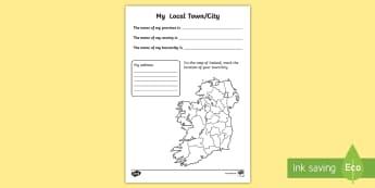 My Local Town/City Write Up Activity Sheet - ROI, The World Around Us,WAU,Irish, worksheet,