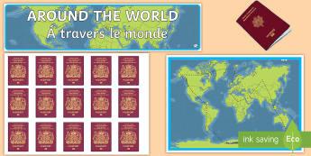 Around the World Reward Display Pack English/French  - Around the World Reward Display Pack - around the world, reward, golden time, reward chart, EAL Fren