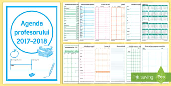 Agenda profesorului 2017 2018 - orar, organizare, planificare, calendar, notițe,Romanian