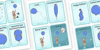 Story Sequencing (4 per A4) to Support Teaching on The Blue Balloon - blue balloon, story, the blue balloon, Mick Inkpen, sequencing, story sequencing, story resources, A4, cards, flying balloon, soggy balloon, up, story book, story resources