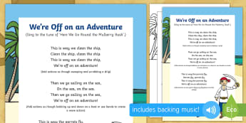 We're Off on an Adventure Song - EYFS, Early Years, EAD, Expressive Arts and Design, singing, Pirates, treasure.