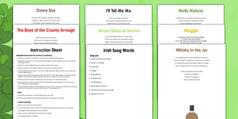 Elderly Care St Patrick's Day Song Words Instruction Sheet and Web Links - Elderly, Reminiscence, Care Homes, St. Patrick's Day