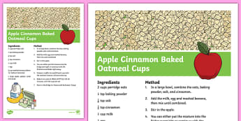 Apple Cinnamon Baked Oatmeal Cups Recipe - cooking, recipe, autumn, eyfs, early years, apple, cinnamon, cups