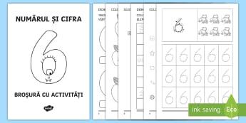 Numărul și cifra 6 Broșură cu activități - matmatică, cifre, numere, broșură, activități, numărul și cifra 6, numerație, clasa pregăti