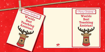Worlds Best Teaching Assistant Christmas Card - christmas, card