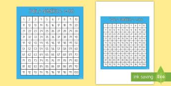 Tabla numérica: Números hasta 100 - tabla numérica, 1-100, uno a cien, cien, números, ,Spanish