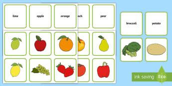 Fruit And Vegetables Matching Game - healthy eating, health, match, sort