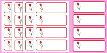 Tulip Themed Editable Drawer, Peg, Name Labels  - Daffodil Themed Editable Drawer-Peg-Name Labels (Blank) - Themed Classroom Label Templates, Resource