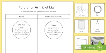Natural or Artificial Light Activity Sheet - science, light, natural, artificial, activity sheet, worksheet