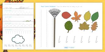 Autumn Pencil Control Worksheets - fine motor skills, seasons