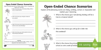 Year 2 Open-Ended Chance Scenarios Activity Sheet - Australian Curriculum Statistics and Probability, Year 2, chance, ACMSP047, worksheet, open-ended sc