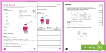 Dissolving Investigation Instruction Sheet Print-Out - Investigation Help Sheet, science practical, method, instructions, dissolve, dissolving, soluble, in