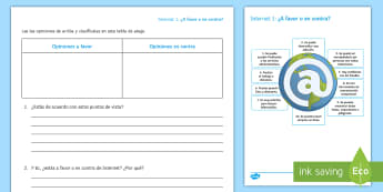 Pros and Cons of the Internet Activity Sheet - Spanish, Vocabulary,technology, internet, pros, cons, activity, sheet, worksheet, reading, comprehen