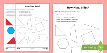 2D Shapes Numeracy Colouring Page - NI KS1 Numeracy, 2D shapes, homework, home learning, worksheet
