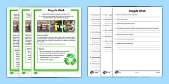KS1 Recycle Week Differentiated Reading Comprehension Activity