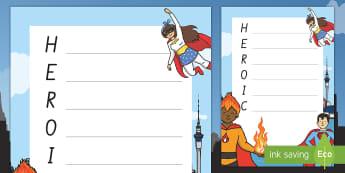 Superhero Qualities Acrostic Poem - People Who Help Us, heroes in our community, heroes, hero, poem, acrostic poem, superheroes, literac