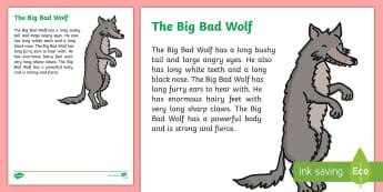 The Big Bad Wolf Literary Description Writing Sample - Literacy, The Big Bad Wolf Literary Description  Writing Sample , year 1, year 2, description, writi