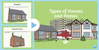 Houses and Homes Description PowerPoint - Houses and Homes, ks1, year 1, year one, y1, history, geography, flats, caravan, apartment,