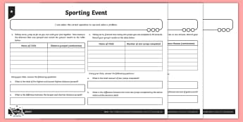 Collecting Data Problem Solving Activity Sheet - Addition and Subtraction, Solve, total, more, minus, plus, decrease, increase, sum, difference betwe