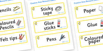 Chicks Themed Editable Creative Area Resource Labels - Themed creative resource labels, Label template, Resource Label, Name Labels, Editable Labels, Drawer Labels, KS1 Labels, Foundation Labels, Foundation Stage Labels