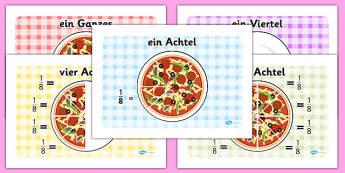 Pizza Fractions German - fractions, maths, half, quarter, thirds, fraktionen, mathe, german, germany, de, deutsch