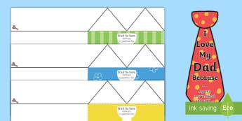 Father's Day Flap Tie Cards - English/Greek - Fathers Day Flap Tie Card Craft - fathers, day, flap, tie, card, EAL, greek, Greek