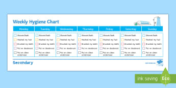 Hygiene Weekly Overview Chart Activity Sheet - Hygiene, weekly, overview, chart, entry level, functional skills worksheet