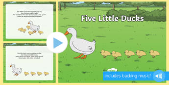 Five Little Ducks PowerPoint - five little ducks, nursery rhymes, nursery rhyme powerpoint, five little ducks nursery rhyme powerpoint, rhyme, song