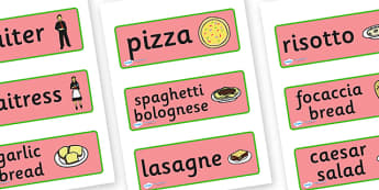 Italian Restaurant Role Play Display Banner - Italian restaurant, role play, word cards, flashcards, pasta, lasagne, food, Italian culture, Italy, spaghetti, menu