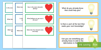 Here, Hidden, Heart and Head Reading Comprehension Questions Word Cards  - Question Stems for Discussion - questions, stems, discussion, guided reading, prompt questions, TA q