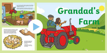 Exploring My World - Grandad's Farm Story PowerPoint - aistear, story, book, animals, farmyard, pig, chickens, growing, food