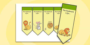 The Lion And The Mouse Editable Bookmarks - bookmarks, lion
