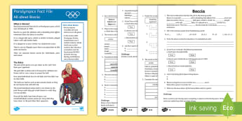 Boccia Differentiated Comprehension Challenge Sheet - Australian, Paralympics,sport, comprehension, reading,