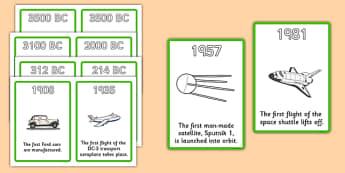History Of Transport Timeline Cards - Transport, A4, display, posters, car, van, lorry, bike, motorbike, plane, aeroplane, tractor, truck, bus