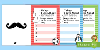 5 Things I Love About My Dad Father's Day Cards English/German - 5 Things I Love About Dad Fathers Day Card Template - fathers day, dad, daddy, card, present, gift,