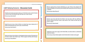 LGBT Bullying Scenario Discussion Cards - lgbt, bullying scenario, discussion cards, lesbian, gay, bisexual, transexual