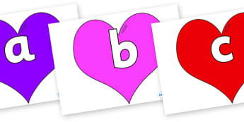 Phoneme Set on Hearts (Multicolour) - Phoneme set, phonemes, phoneme, Letters and Sounds, DfES, display, Phase 1, Phase 2, Phase 3, Phase 5, Foundation, Literacy