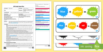 EYFS Invitation to Explore Adult Input Plan and Resource Pack - Light and Dark, colour mixing, exploring, primary colours, secondary colours, exploration, investiga