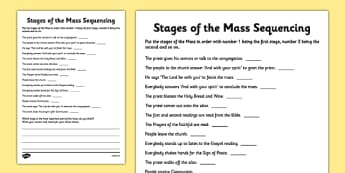 Stages of the Mass Sequencing Activity Sheet - Mass, Roman Catholic, reflection, stages, sequencing, drawing, sacraments, worksheet