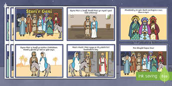 The Nativity Welsh Second Language Story Sequencing Cards-Welsh