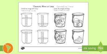 Capacity More or Less Activity Sheet US English/Spanish (Latin) - Capacity, more, less, full, more or less, math, litre