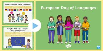 KS1 European Day of Languages PowerPoint - French, spanish, german, English, Europe, speaking, listening,
