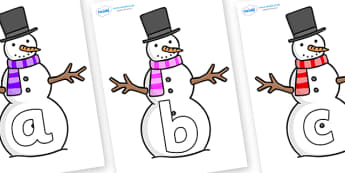 Phoneme Set on Snowman - Phoneme set, phonemes, phoneme, Letters and Sounds, DfES, display, Phase 1, Phase 2, Phase 3, Phase 5, Foundation, Literacy