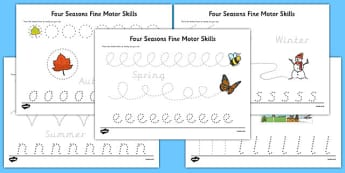 Four Seasons Fine Motor Skills Activity Sheet Pack - four seasons, fine motor skills, worksheet